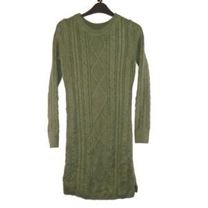 Merona Sweater Dress XS Green Cable Knit Crew Neck